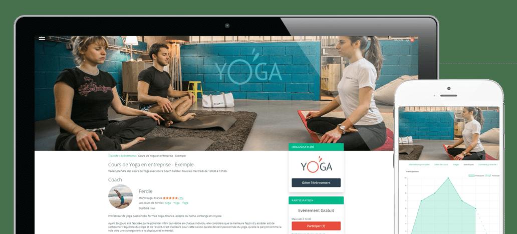 Mockup plateforme Yoga en entreprise